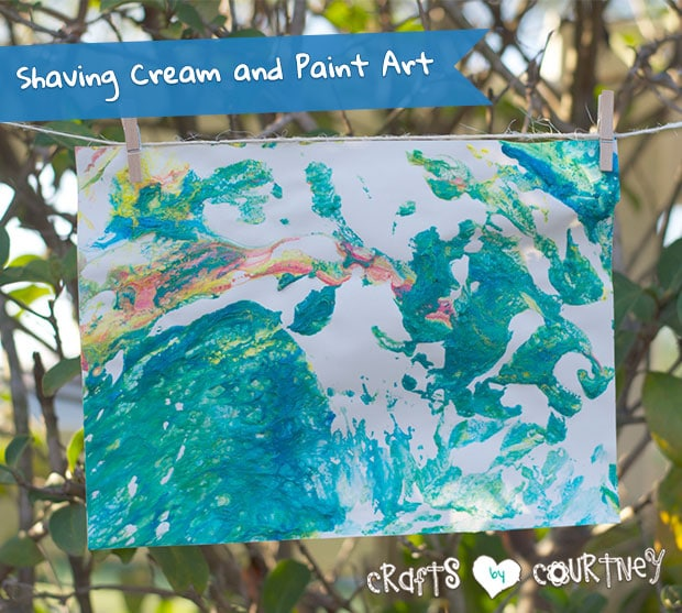 Kids craft: Shaving cream and paint art