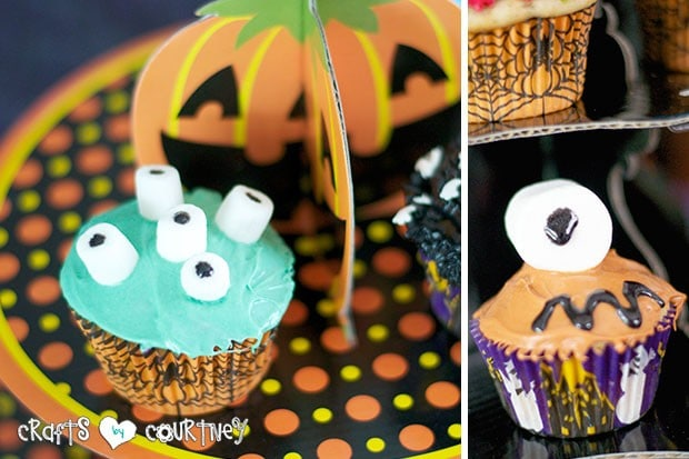 Halloween Pumpkin Decorating Party: Spooky Treats Table: Mosnter Cupcake