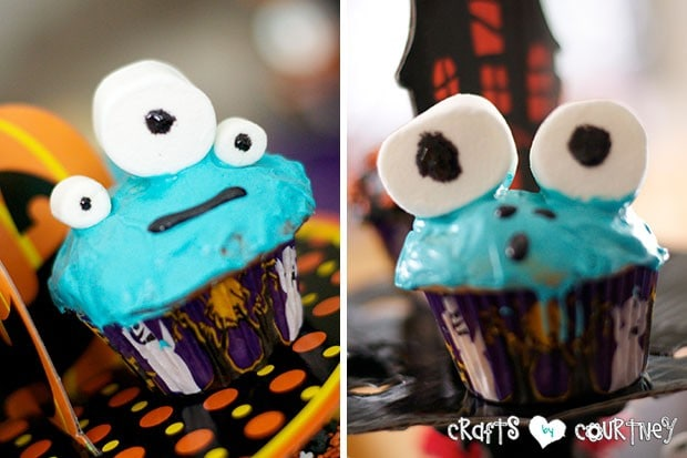 Halloween Pumpkin Decorating Party: Spooky Treats Table: Blue Monster Cupcakes