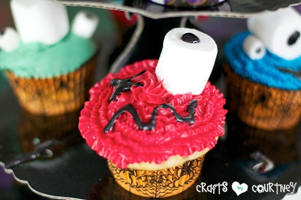 Halloween Pumpkin Decorating Party: Spooky Treats Table: Spooky Monster Cupcake