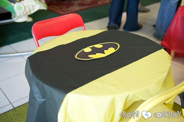 Superhero Birthday Party: Fueling Station: Batman Table Setting