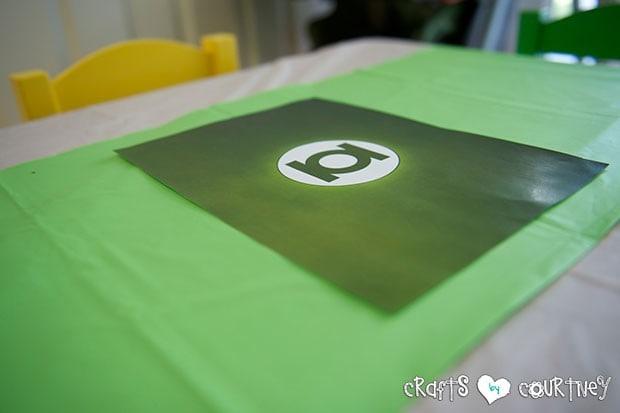 Superhero Birthday Party: Fueling Station: Green Lantern Table Setting