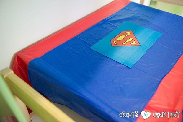 Superhero Birthday Party: Fueling Station: Superman Table Setting