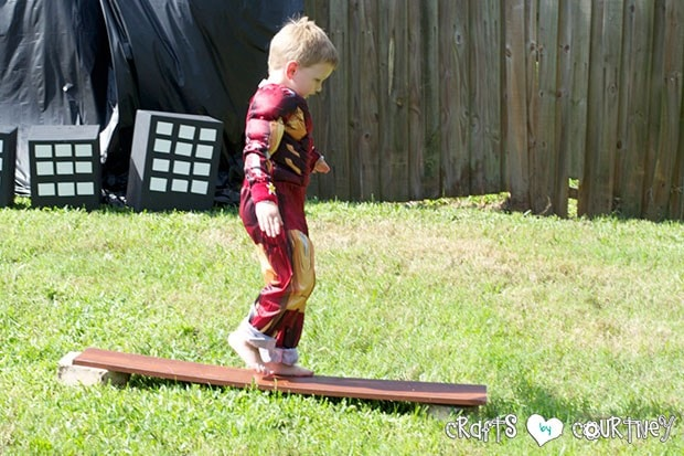 Superhero Birthday Party: Danger Room: Obstacle Course: Walking the Balance Beam
