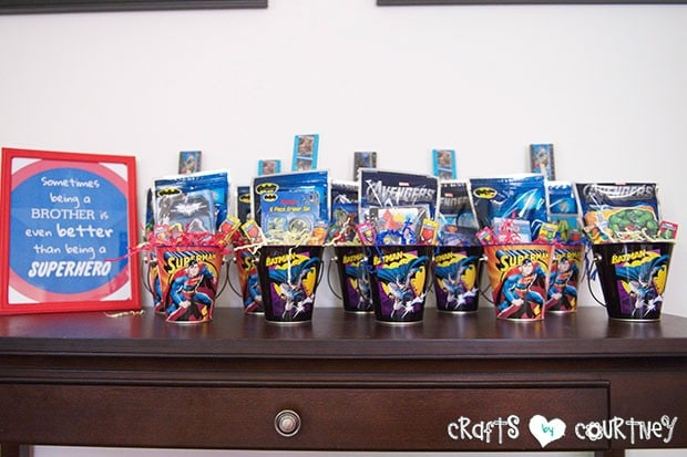 Superhero Birthday Party: Party Favor Station