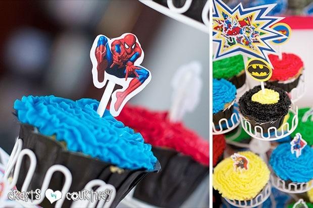 Superhero Birthday Party: Superhero Display Table: Spiderman Cupcake Toppers