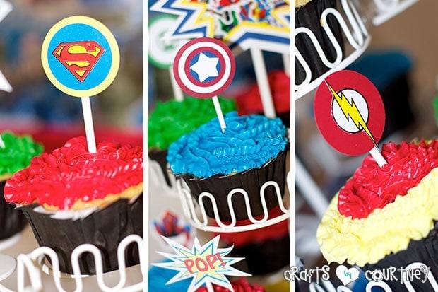 Superhero Birthday Party: Superhero Display Table: Handmade Cupcake Toppers