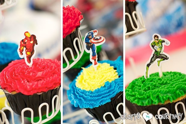 Superhero Birthday Party: Superhero Display Table: Sticker Cupcake Toppers