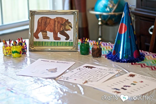 Brown Bear Birthday Party: Craft Table and Reading Time