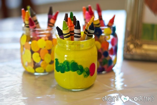 Brown Bear Birthday Party: Craft Table and Reading Time: Crayon Holders