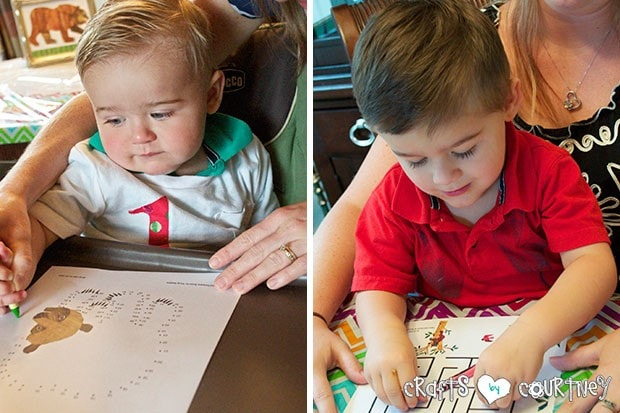 Brown Bear Birthday Party: Craft Table and Reading Time: Crafting Time