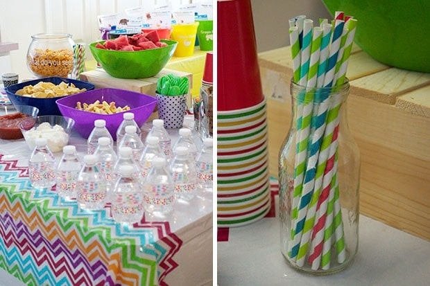 Brown Bear Birthday Party: Snack Table: Paper Straws