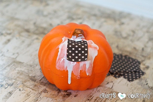 Mod Podge Pumpkins:  Add Your Scrapbook Paper