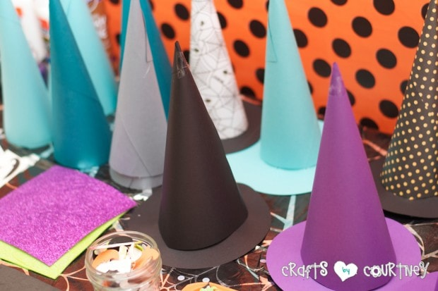 Witches and Wizards Halloween Pumpkin Decorating Party: Witches and Wizard Pumpkin Decorating Station: Witches Hats