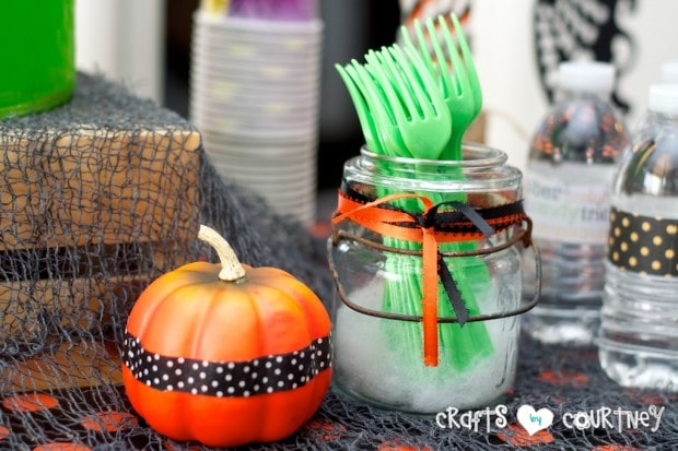 Witches and Wizards Halloween Pumpkin Decorating Party: Spooky Treats Table: Washi Tape Pumpkin