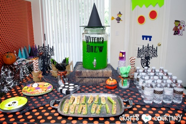 Witches and Wizards Halloween Pumpkin Decorating Party: Spooky Treats Table