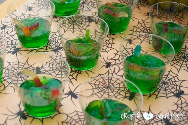Witches and Wizards Halloween Pumpkin Decorating Party: Display Table: Spooky Jello