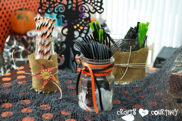 Witches and Wizards Halloween Pumpkin Decorating Party: Spooky Treats Table: Mason Jar Silverware Holder