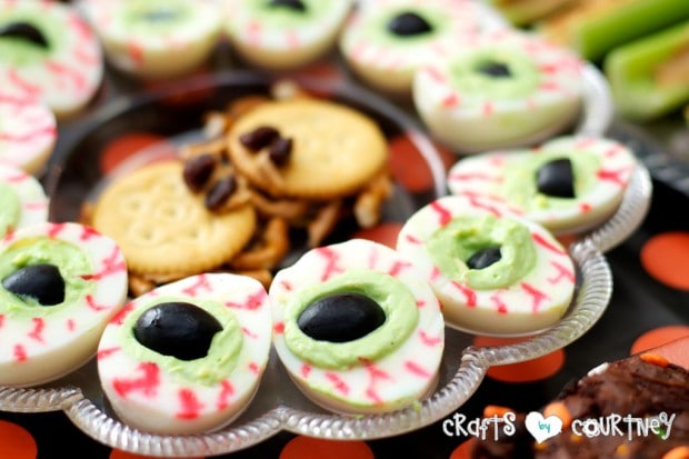 Witches and Wizards Halloween Pumpkin Decorating Party: Spooky Treats Table: Creepy Eye Eggs