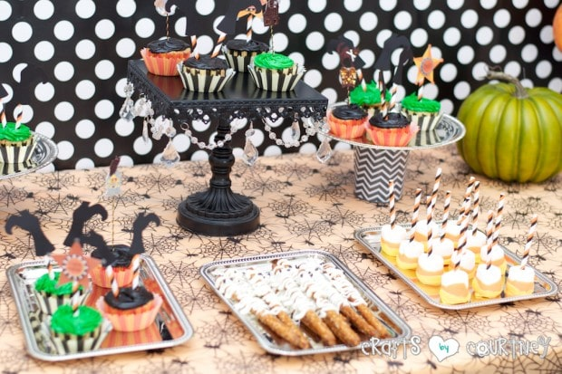 Witches and Wizards Halloween Pumpkin Decorating Party: Display Table: Party Food