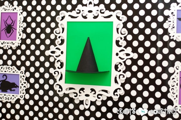 Witches and Wizards Halloween Pumpkin Decorating Party: Display Table: Framed Witches Hat