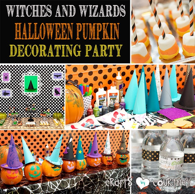Halloween pumpkin decorating party: Witches and wizards