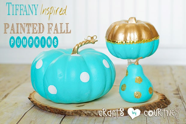 Tiffany inspired blue painted Fall pumpkin decor