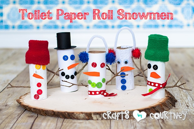 Toilet paper roll snowmen craft