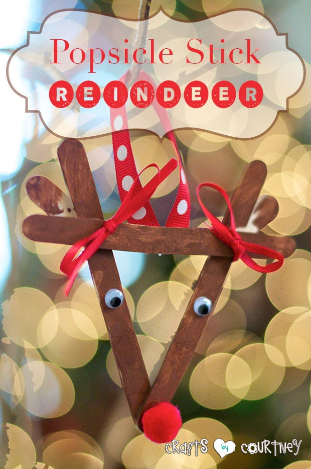 Popsicle stick reindeer ornament craft