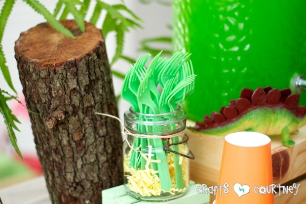 Dinosaur Birthday Party: It's great using mason jars for silverware holders at parties