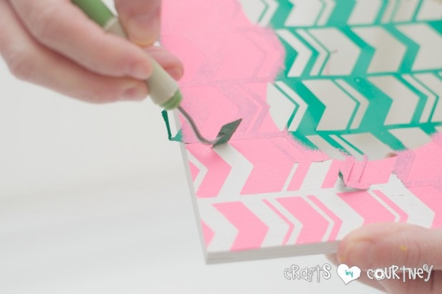 Stenciled Valentine Heart Frames: Peeling off your stencil
