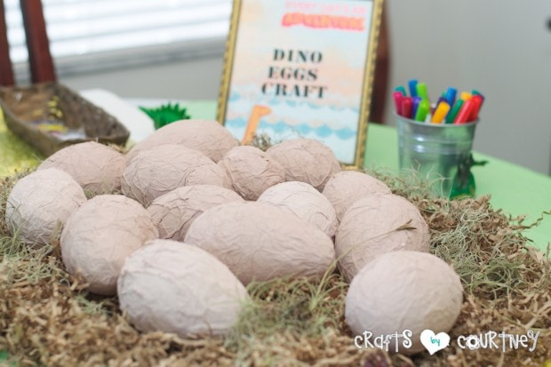 Dinosaur Birthday Party: Fun paper mache dino eggs for the kids to decorate!