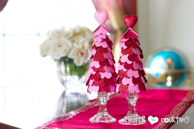 Valentine Heart Trees Made From Dollar Tree Supplies