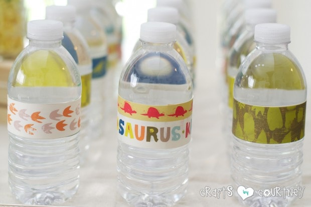 Dinosaur Birthday Party: Water Bottle Labels Made From Scrapbook Paper