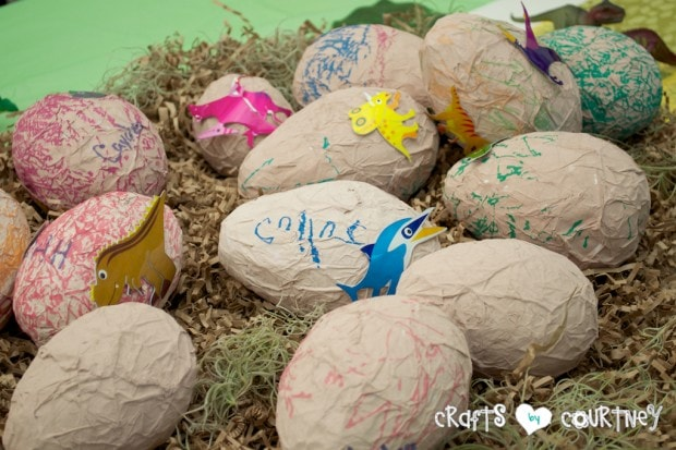 Dinosaur Birthday Party: The kids had a great time decorating their paper mache dinosour eggs