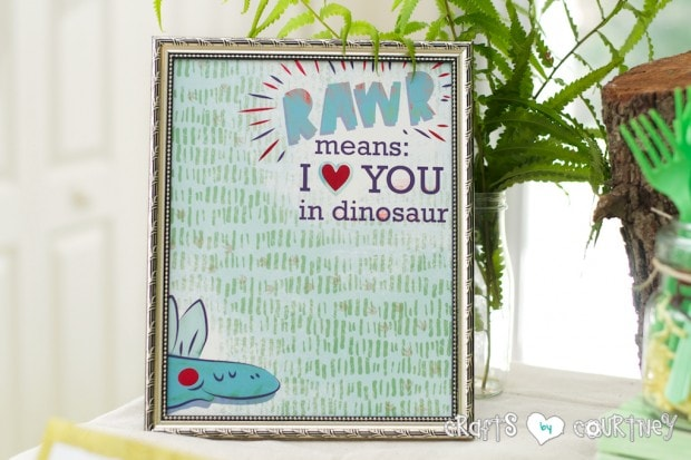 Dinosaur Birthday Party: Birthday Sign Made From Scrapbook Paper