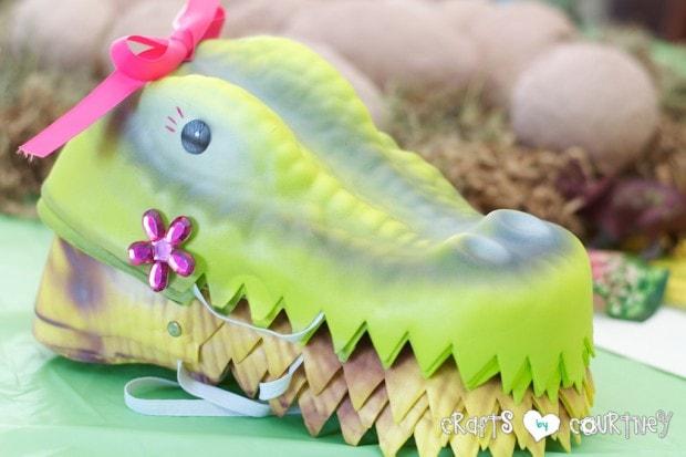 Dinosaur Birthday Party: For the girls I made girly dinosaur hats