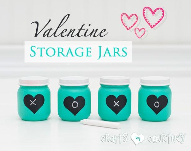 Baby food jar craft: Valentine storage jars