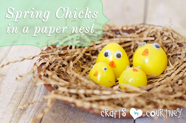 Spring chicks craft: Paper nest
