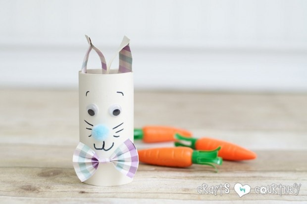Kids Easter Ideas: Toilet paper roll Easter Rabbits with a cute bow ties