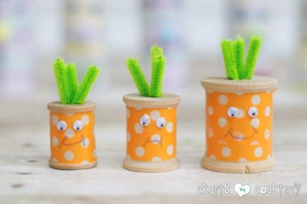 Easter Craft for kids: Washi Tape Craft Making Carrots for Easter