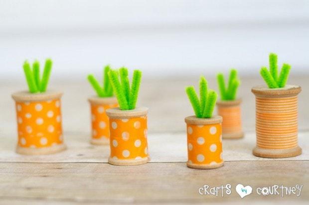 Easy Easter Decor: Create Cute Washi Tape Thread Spool Carrots
