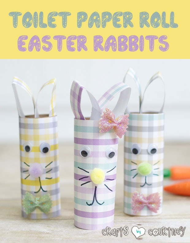 DIY Gingham Scrapbook Paper and Toilet Paper Roll Easter Rabbits