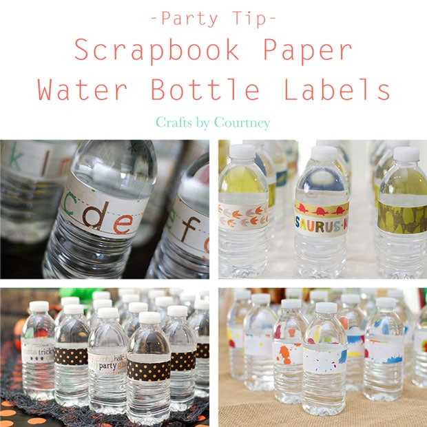 Party Tip: Dress Up Water Bottles With Scrapbook Labels