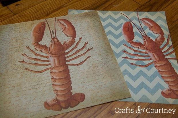 Create Easy Scrapbook Paper Lobster Wall Art!