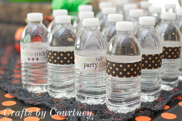 Halloween Party Tip: Dress Up Water Bottles With Scrapbook Labels