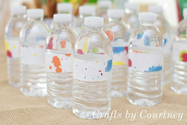 Art Party Tip: Dress Up Water Bottles With Scrapbook Labels