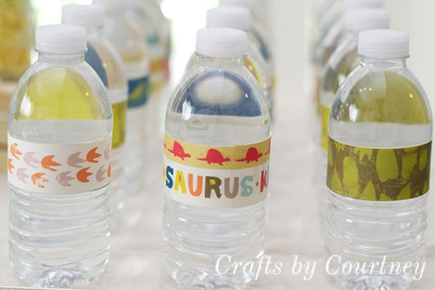 Dinosaur Party Tip: Dress Up Water Bottles With Scrapbook Labels