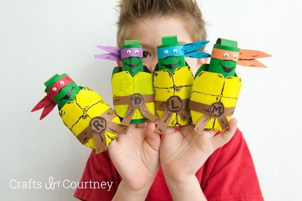 TMNT toilet paper roll finger puppets