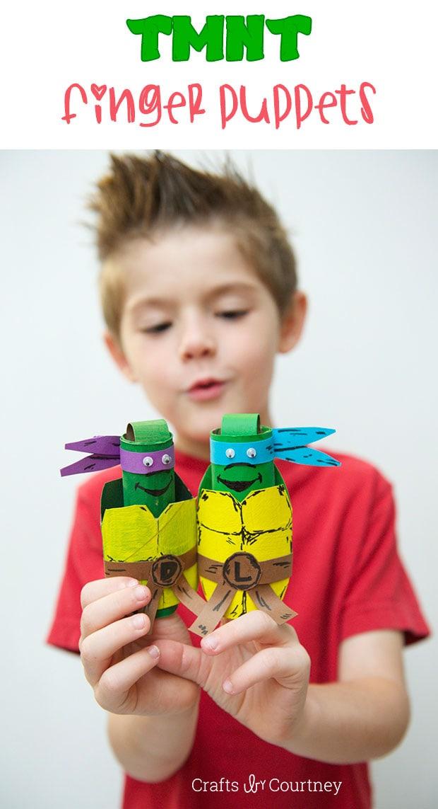 Kids Craft: TMNT Toilet Paper Roll Finger Puppets